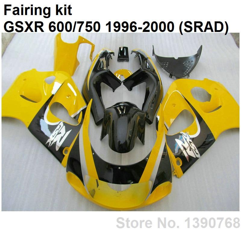 ABS plastic fairings for Suzuki GSXR750 96 97 98 99 00 yellow black body work parts fairing kit GSXR600 1996-2000 LN19
