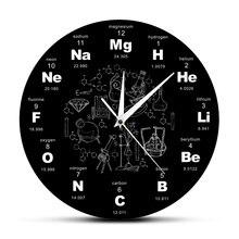 Настольная Таблица элементов, настенные художественные химические символы, настенные часы, Обучающие элементы, дисплей, классная комната, часы, подарок для учителя