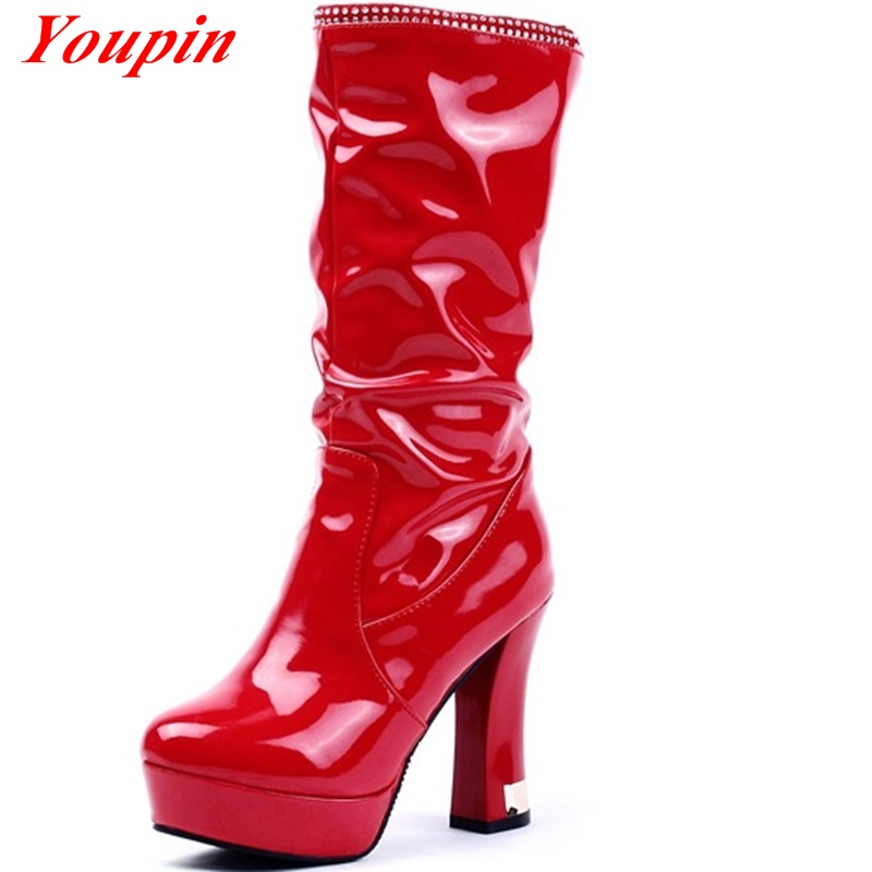 pumps chelsea boots Autumn winter fashion sexy 2015 extreme pumps Red patent leather chelsea boots Free