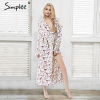 Simplee Cold Shoulder Ruffle Print Summer Long Dress Women Sash Long Sleeve Maxi Dress Female Floral