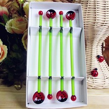 Factory wholesale! Creative wedding cartoon glass sculpture tableware Ladybug spoon and swizzle stick