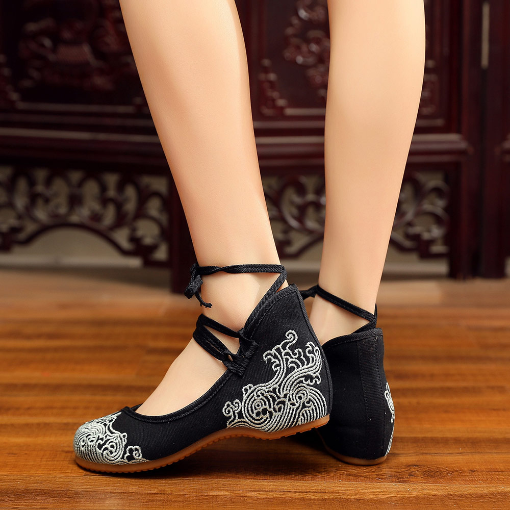 Veowalk Mid Top Women Canvas Embroidered Ballet Flats Ankle Strap Vintage Ladies Casual Walking Shoes Chinese Old Beijing Shoes