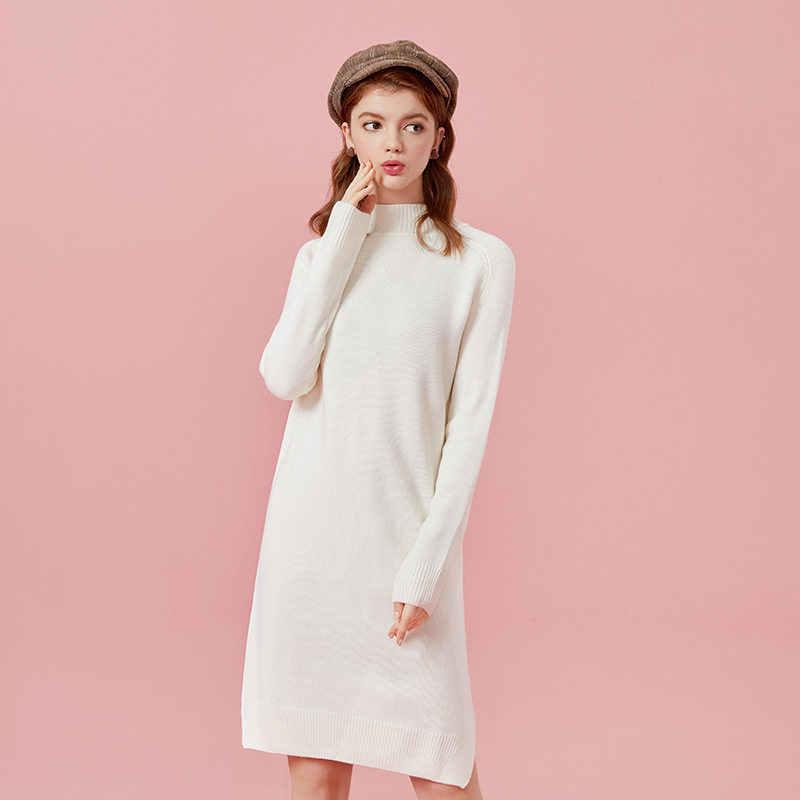 SEMIR femmes laine mélangée robe pull à col roulé en tricot côtelé femmes robe côtelée avec longues manches Raglan fentes à l'ourlet