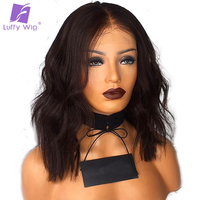Luffy Pre Plucked Natural Wave 5*4.5 Silk Base Full Lace Wigs Indian Black Human Hair Short Bob Non Remy 130% Density For Women