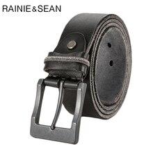 RAINIE SEAN Genuine Leather Belt For Men Italian Luxury Male Casual Business Black Real Cow Retro Trousers
