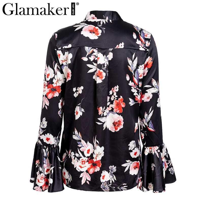 Glamaker Siyah çiçek baskı seksi bluz üst Kadınlar wrap lace up saten flare kollu bluz gömlek Yaz parti şık zarif bluz