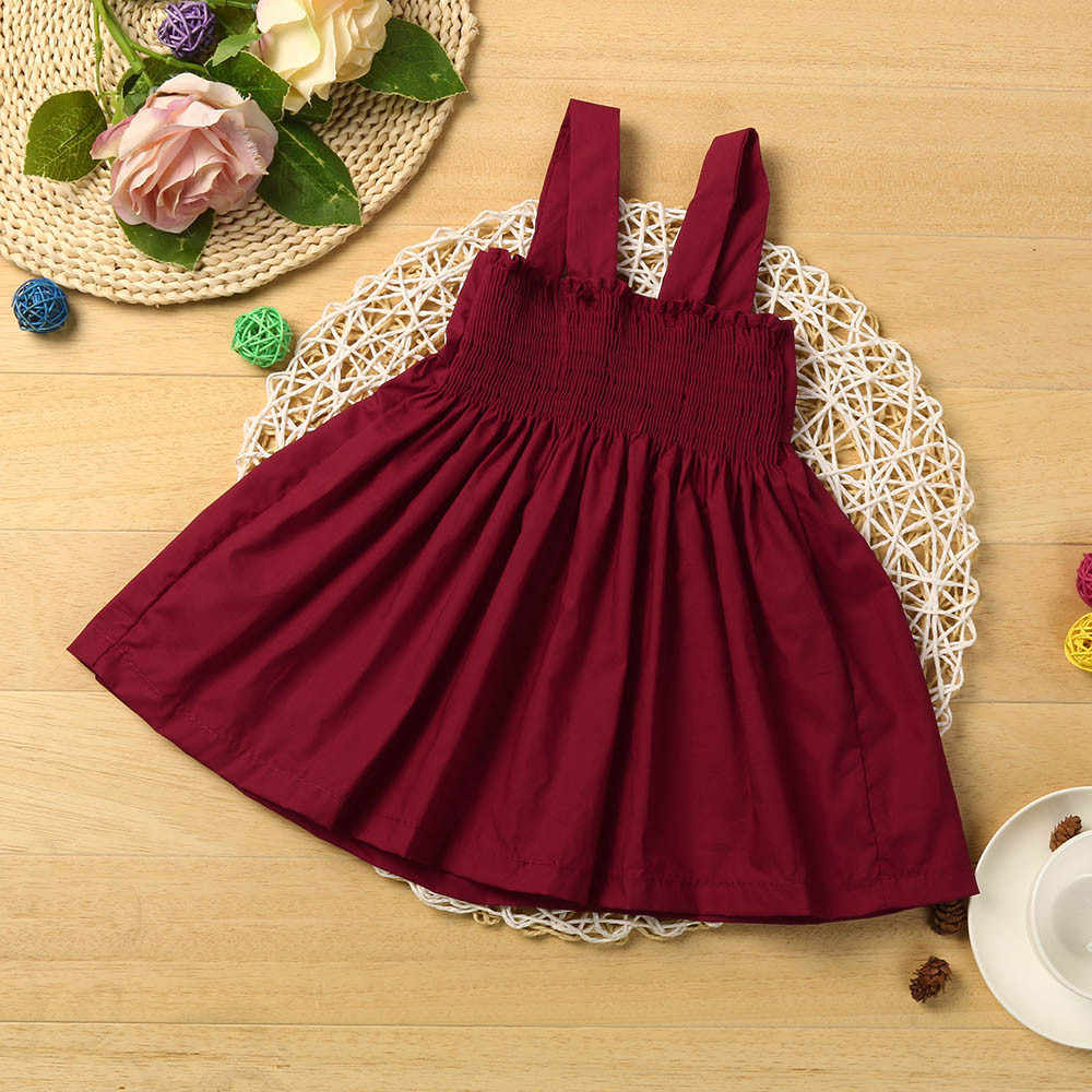 Baby Girls Dress solid Kids Dresses For Girls clothes Children strap Princess Dresses with Bow Harness Vestidos Robe Fille