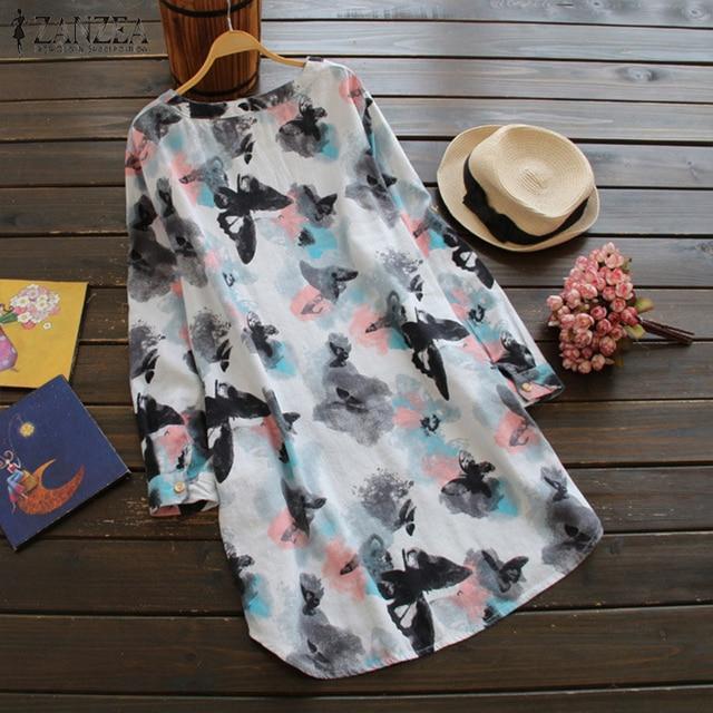2019 Summer Women Dress ZANZEA Autumn  Floral V Neck Buttons Roll Up Long Sleeve Shirt Dresses Elegant Vestidos Plus Size 2