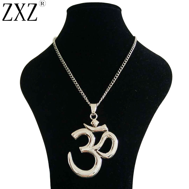 ZXZ Large Statement Abstract Metal OM OHM AUM Symbol Yoga Buddhist Pendant on Long Chain Necklace Lagenlook 34