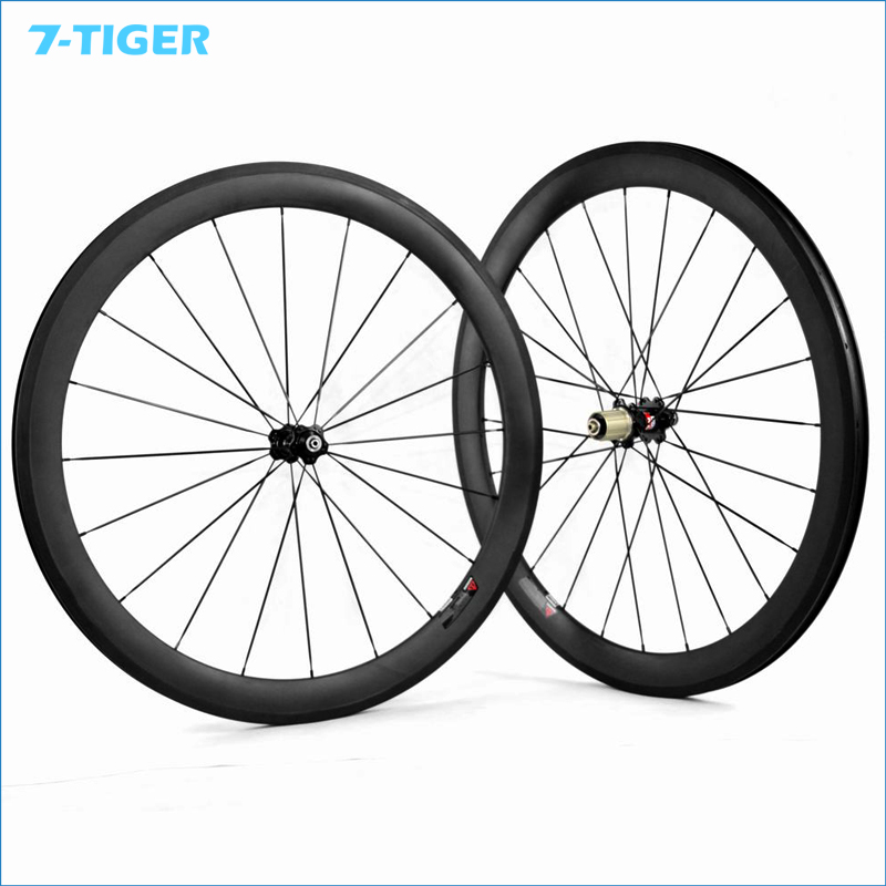 7-TIGER chinese carbon Road wheels bicycle wheel fat bike 50mm Clincher rims  wheelset with novatec hub 50mm clincher carbon bike wheel 25mm width bicycle wheel set novatec light weight hub 700c wheel set