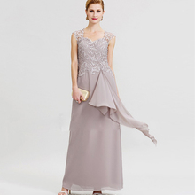 2019 Elegant Mother of the Bride Dresses V Neck Sleeveless Chiffon Plus Size Evening Gowns Floor Length Prom Party Dress