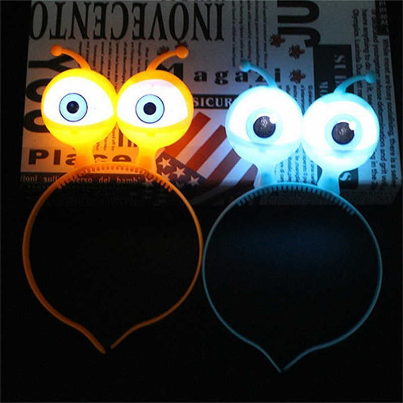 LED Light Luminous Halloween Christmas Vocal Concert Props Supplies Aliens Eyes Head Hair Hoop Band Party Decoration