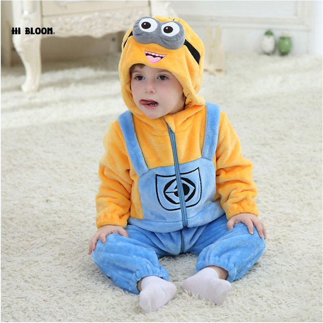 2ceac5125 Easter Baby Clothing Flannel Winter Baby Jumpsuit Romper For Girl Boy Soft  Minion Hello Kitty Cosplay