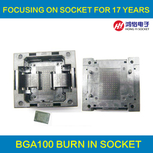 BGA100-1.0 OPEN TOP Burn in socket pin pitch 1.0mm IC size 14*18mm 12*18mm BGA100-1.0 BGA100 VFBGA100 burn in socket qfn44 mlf44 wlcsp44 to dip44 double board programming socket ic550 0444 010 g pitch 0 5mm ic size 7x7mm adapter smt test socket