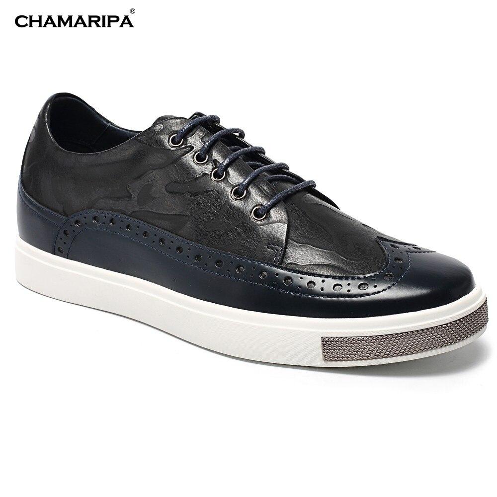 CHAMARIPA Elevator Shoes Men6cm/2.36 inch  Increase Height  Black Classic Brogue Sneaker Hidden Heel L62C26K015D chamaripa increase height 7cm 2 76 inch elevator shoes increase height shoes men business formal black shoes
