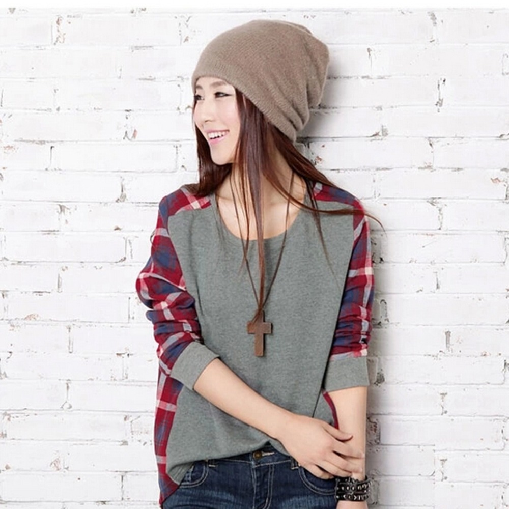 Women Plaid Patchwork Autumn Loose Casual Stitching Color Long Sleeve Pullover Female Sweatshirt Femme O-Neck Blusa