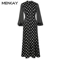 MENKAY 2018 Spring New Vintage Dots Lantern Sleeve High Waisted Maxi Dress Women Fashion Ladies