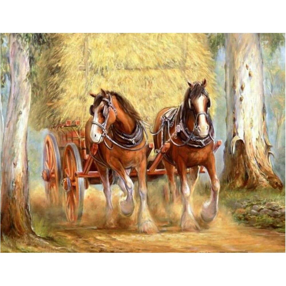 LI LOYE DIY Diamond painting Round drill rhinestone pasted painting cross stitch Horse carriage rhinestone painting craft RT1102