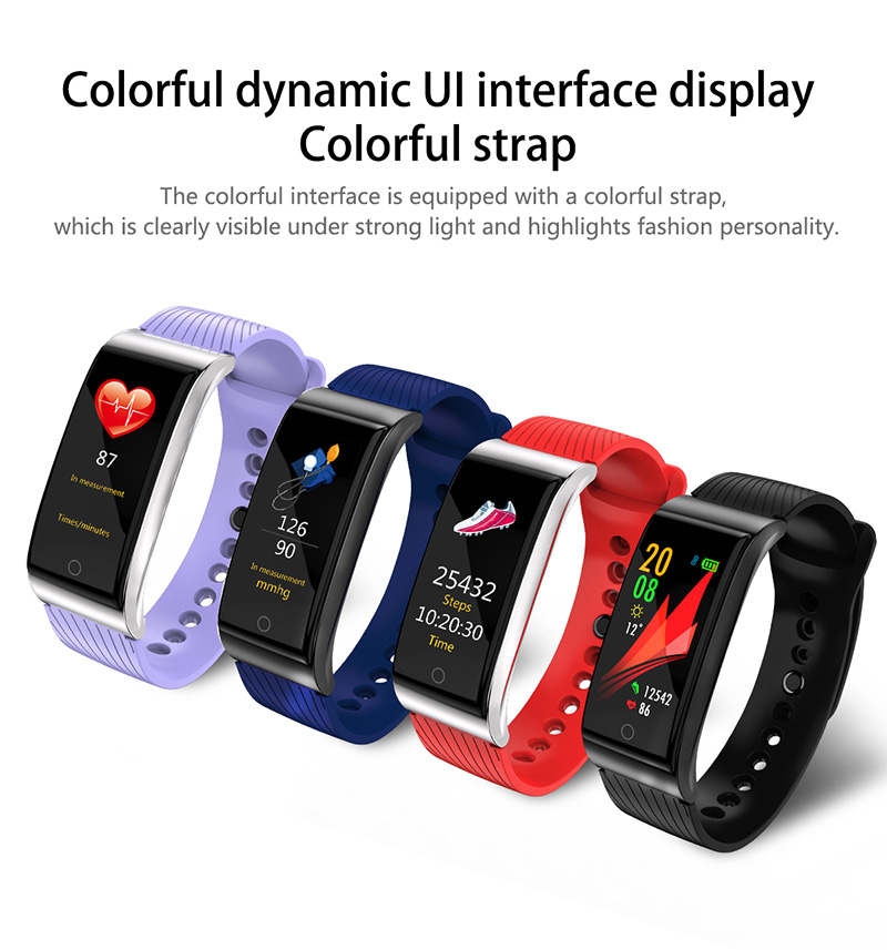 Foto of metallic curves Smart waterproof watch with pedometer. Smart waterproof watch with heart rate monitor blue, navy, red, black colors