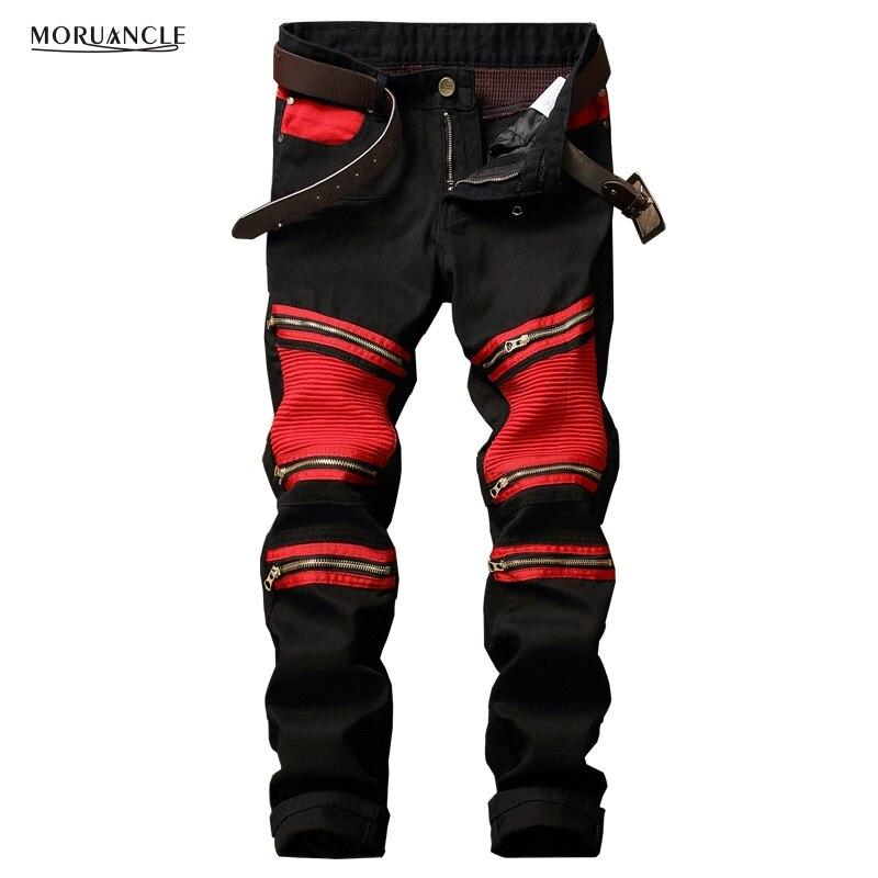 ФОТО 2017 Brand Designer Men Biker Denim Joggers Pleated Motorcycle Jeans Pants Man Strentch Jean Trousers Multi Zipper Red Patchwork