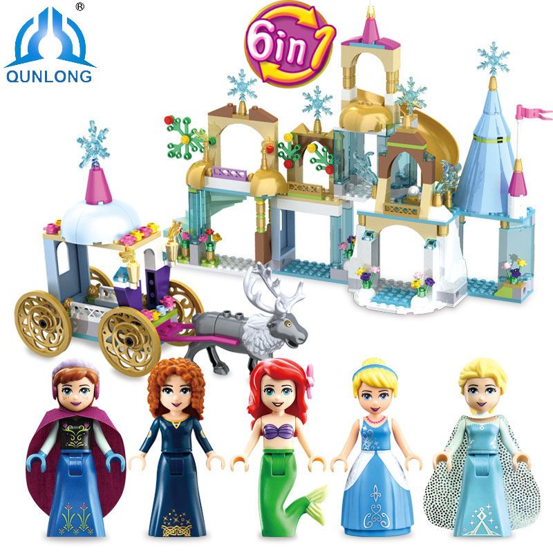 6 in 1 Frozenn Mermaid castle Building Blocks Compatible Legoe Friends City Princess Cinderella Castle Girls Figures Toys Gift lepin 16008 cinderella princess castle city model building block kid educational toys for children gift compatible 71040