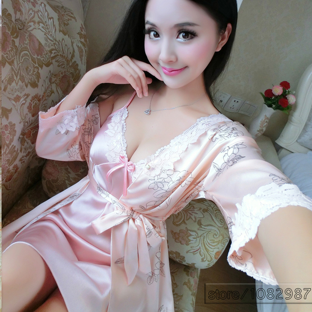 Sexy Summer Sleepwear Women Nightdress 2 pieces Set of Robe & Nightgown Lady Casual Home Dress Female Sexy Satin Loungewear