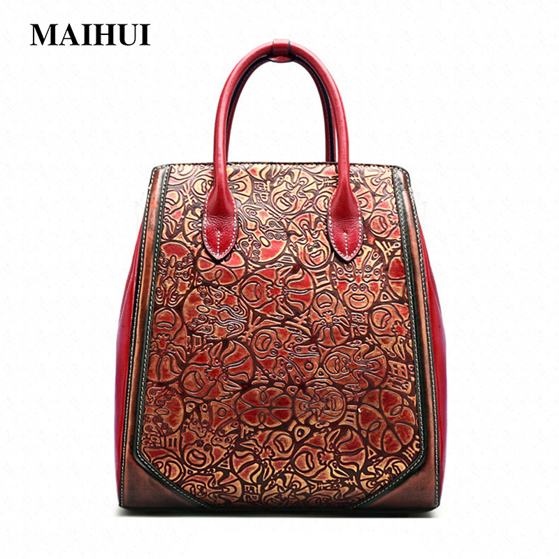 MAIHUI designer handbags high quality shoulder bags new chinese style Top-handle bag cowhide real genuine leather women tote bag