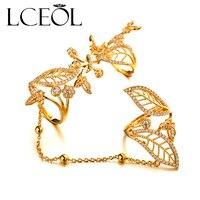 LCEOL Bağbozumu Iki Tam Parmak Yüzük Bırakır Mikro CZ Beyaz Kadınlar için Zincir Takı Ile altın Rengi Tam Parmak Yüzük saray