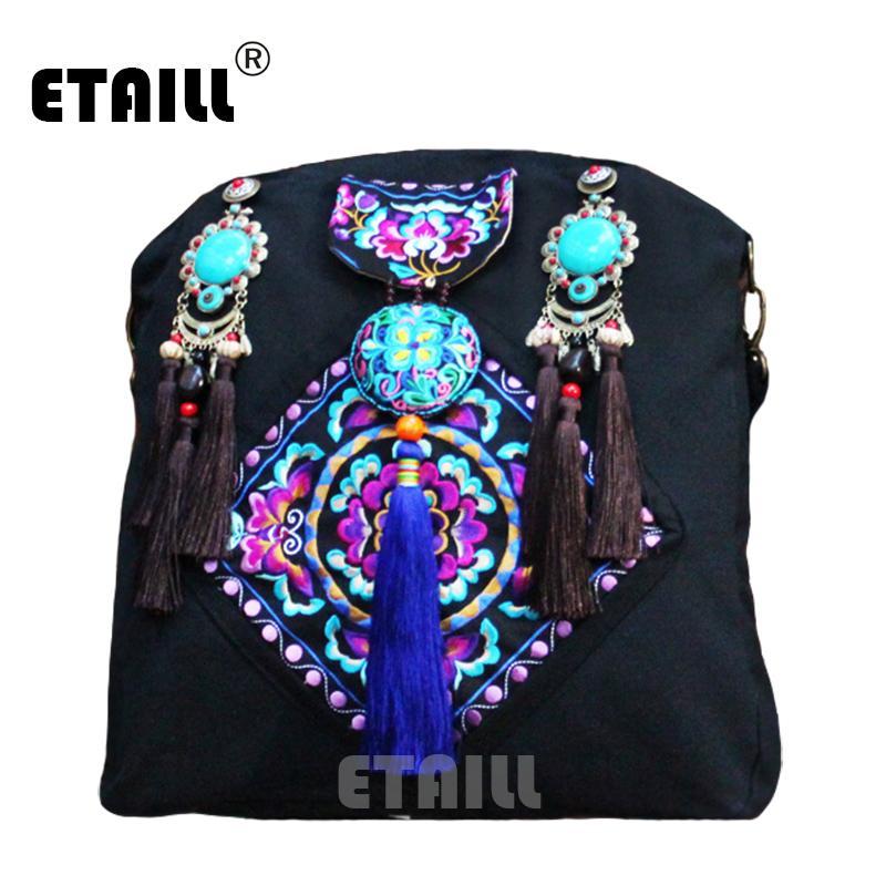 Handmade Emoridered Hmong Bags Indian Ethnic Hippie Boho Canvas Bag Tassel Famous Women Luxury Brand Bohemia Bag Sac a Dos Femme yunnan hmong vintage ethnic embroidered boho indian floral embroidery thailand famous brand logo bag and handbag sac a dos femme