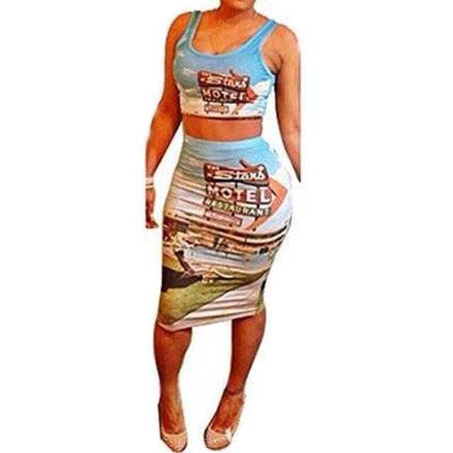 8ed7991b1 € 5.93 |2016 summer dress explosión moda chaleco de la impresión vestidos  de comercio exterior modelos traje de dos piezas sexy vestido clothign ...