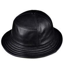 ac517310 Unisex Genuine Leather Bucket Hat Fishing Outdoor Panama hip hop Cap Men's  Winter For fisherman hat women 2018 New bone feminino