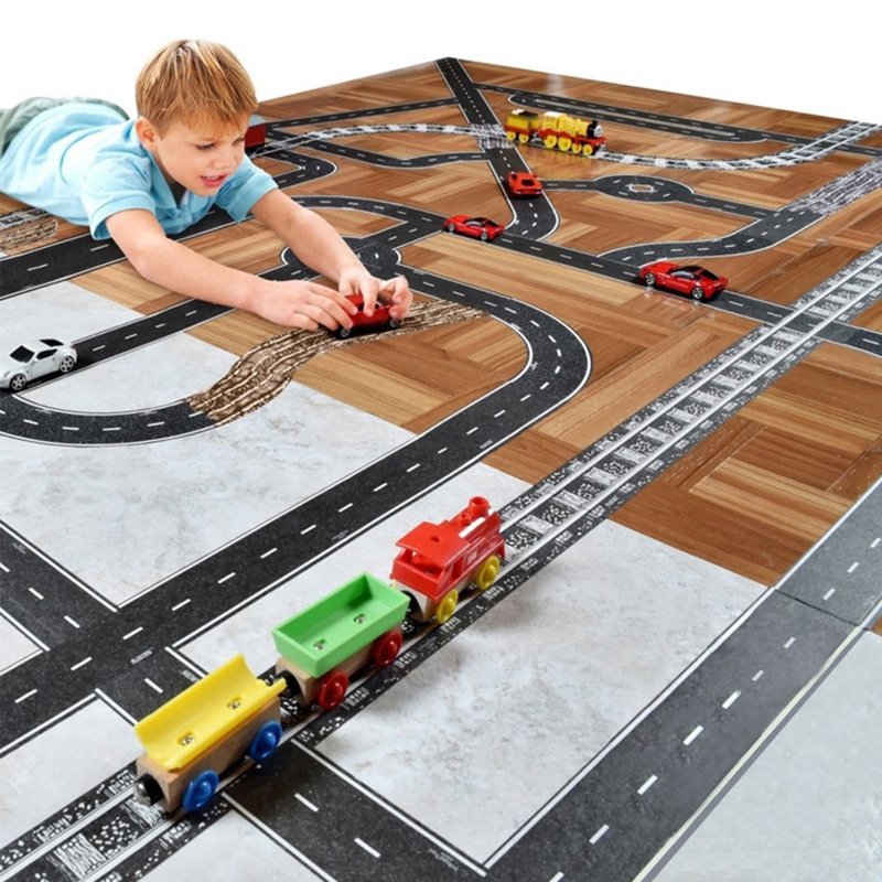 Kids Reusable Tape Puzzle For Traffic Scene Design With Railway Road Motorway Traffic Stickers With Cars Educational Boy Toy
