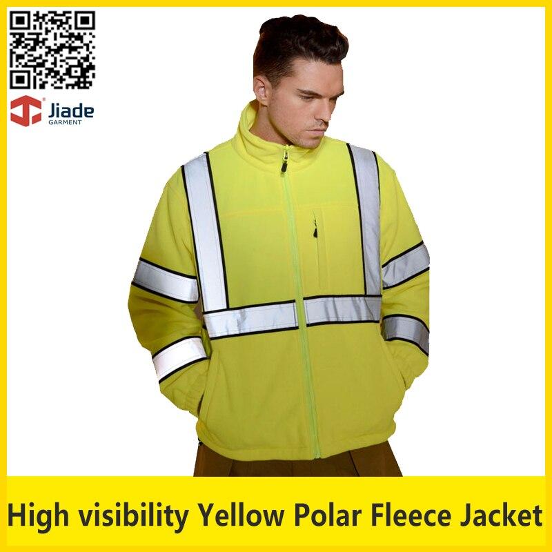 Jiade High visibility reflective safety flourecent polar fleece jacket mens work jacket security jacket
