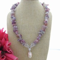 N060505 21 Natural Tourmaline Rough Nugget Necklace Keshi Pearl CZ Pendant