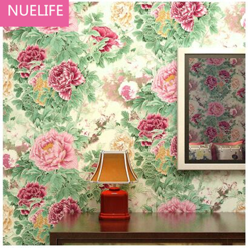 Modern Chinese Style Large Flower Nonwoven Fabric Wallpaper Living Room Bedroom Background Wallpaper Peony Flower Pastoral book knowledge power channel creative 3d large mural wallpaper 3d bedroom living room tv backdrop painting wallpaper