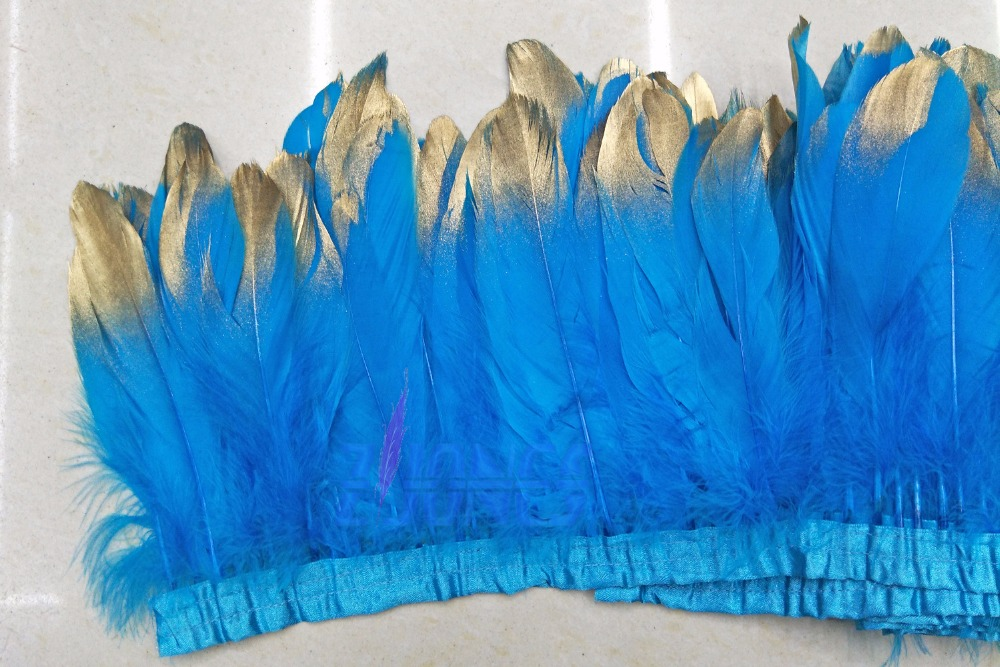 Retail and Wholesale 10yards/lot Good Quality Gold Painting Spray Turquoise Dyed Goose Feathers Trim For Dress/Skirt