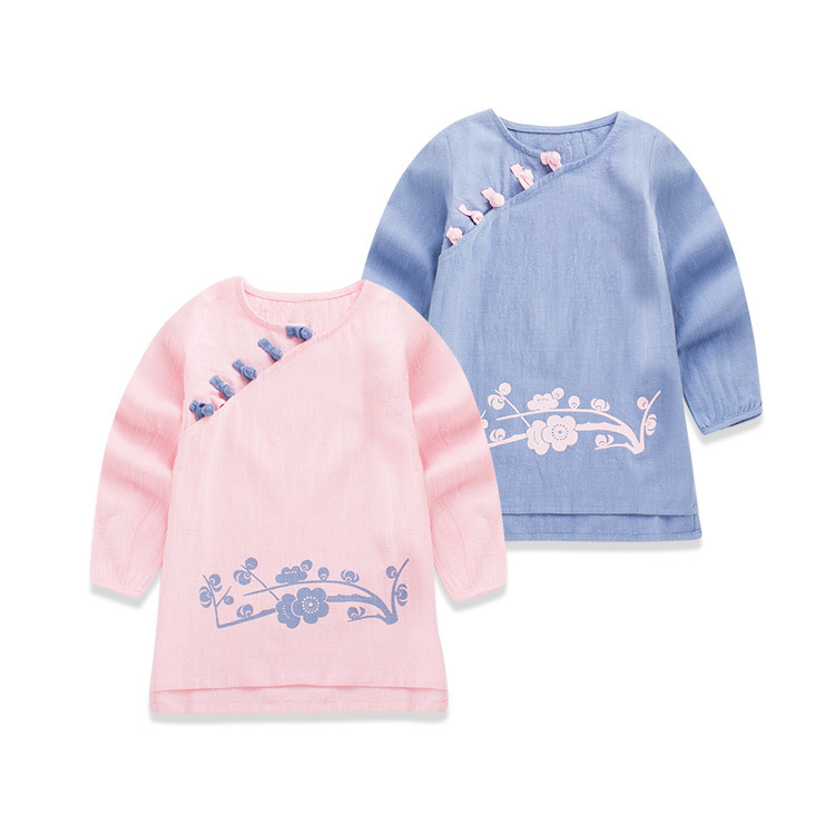 2016 Spring New Pattern Korean Children's Garment Baby Plum Blossom Tang Pankou Dress Girl In National Customs Full Dress