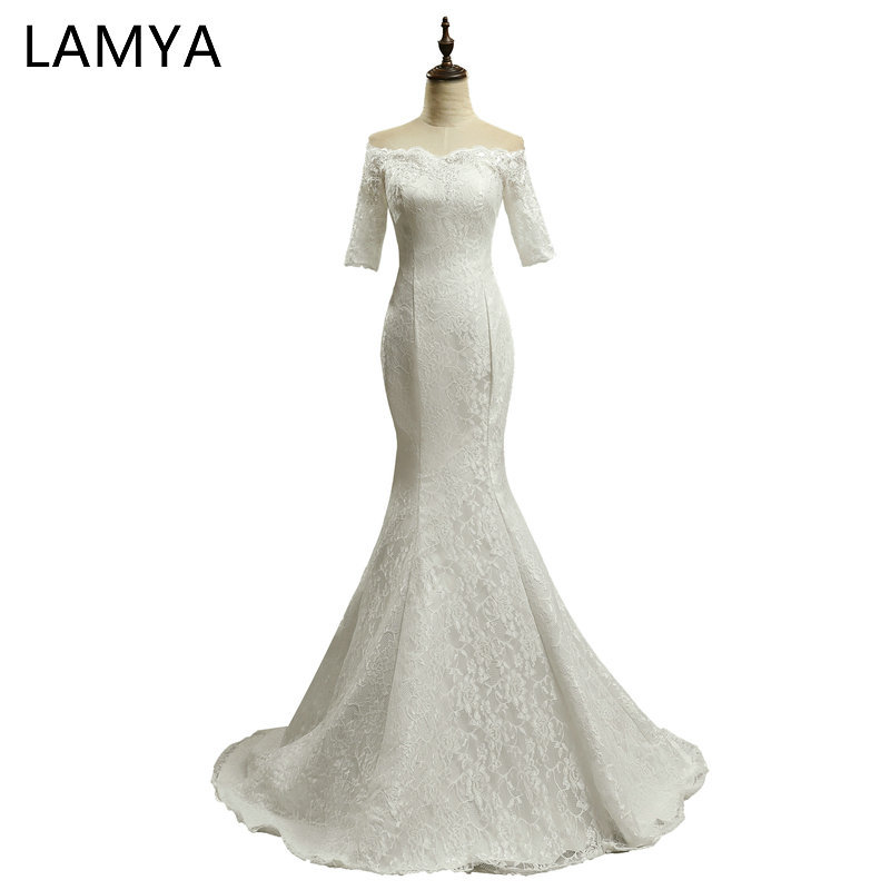 LAMYA Lace Mermaid Wedding Dress 2019 Fashion Boat Neck Short Sleeves Bride Gown Dresses Fashion Robe De Mariage