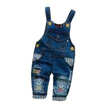 Spodnie dla niemowląt BibiCola chłopięce spodnie jeansowe kombinezon dresowy Overoles spodnie dla dzieci spodnie na szelkach dla dzieci wiosna jesienne dżinsy ubrania tanie tanio COTTON Unisex Sznurek Cartoon Luźne Kombinezony TZ45 Pasuje prawda na wymiar weź swój normalny rozmiar baby clothes
