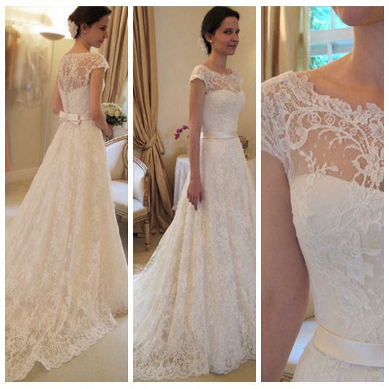 Top sale scoop lace short sleeves a line ladies wedding for Wedding dresses with sleeves for sale