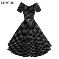LSYCDS Vintage Polka Dots Dress Women V Neck Short Sleeve Tunic Sashes Ball Gown 1950s Vintage Rockabilly Autumn Party Dresses