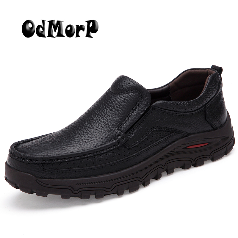 ODMORP Plus Size Men Shoes Black Leather Business Man Shoes Slip On Loafers Formal Shoes Men Oxford Dress Shoes Brown high quality canvas men casual shoes breathable fashion footwear male loafers shoes black mens shoes sales flats walking shoes