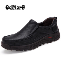 Plus Size Men Shoes Black Leather Flats Soft Business Man Shoe Slip On Loafers Formal Shoes