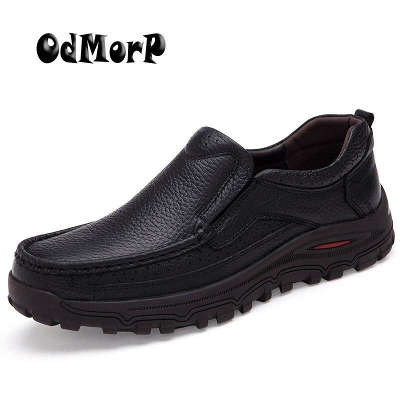 Odmorp плюс Размеры Мужская обувь черные кожаные Бизнес Мужская обувь Лоферы без застежки Официальные ботинки Для мужчин Оксфорд Туфли под пл...