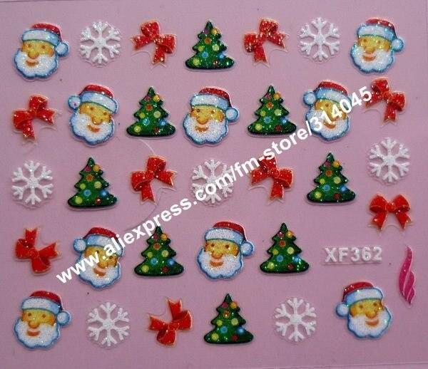 Free shipping 24 kinds Christmas Designs 3D Nail Art Christmas Nail Sticker Decal Holidays XMAS FATHER Nail Art Decoration