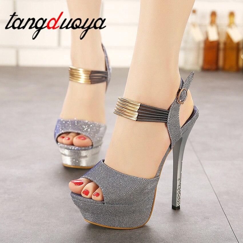 Sandals Women Pumps Strap Platform Square Heels High-Heels Peep-Toes Tacones
