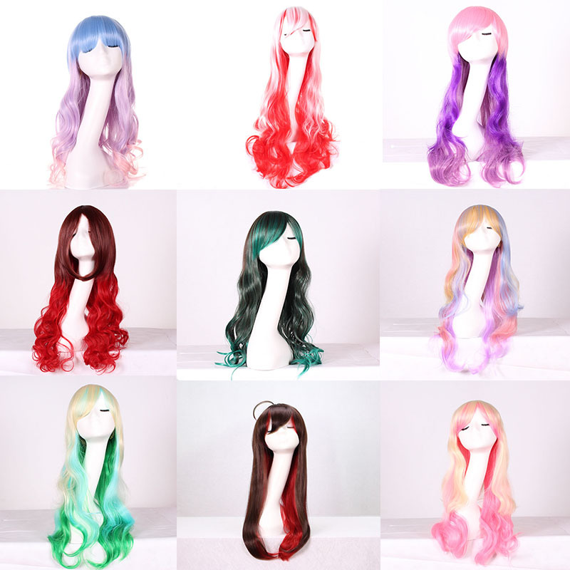 26inch Fashion Cheap Long Wavy Colored Woman Wigs Anime Cosplay Halloween Lolita Blue Purple Green Ombre Wig With Bangs