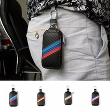 3 colors stripe Carbon fiber style cloth Car key case for volkswagen bmw mercedes benz audi renault ford buick accessories 1pc akrapovic 89mm size car modification carbon fiber exhaust muffle pipe for benz bmw audi porsche cadillac honda buick ford