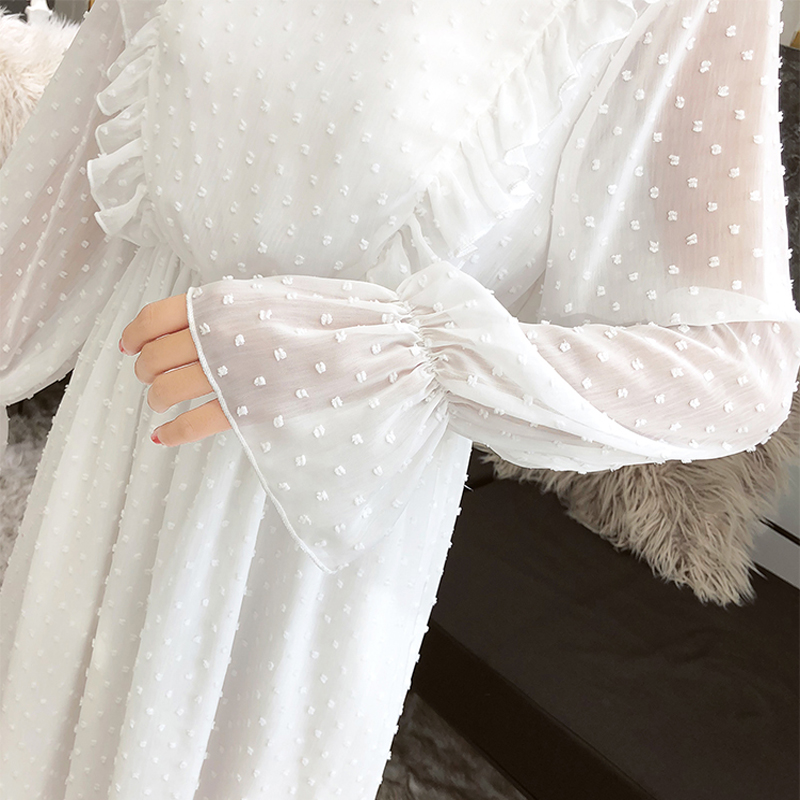 Susi&Rita Spring Chiffon Dress Women Vintage Long Sleeve Ruffled Party Dress Summer Sexy Ladies Beach Dress Vestidos Strand Jurk 9