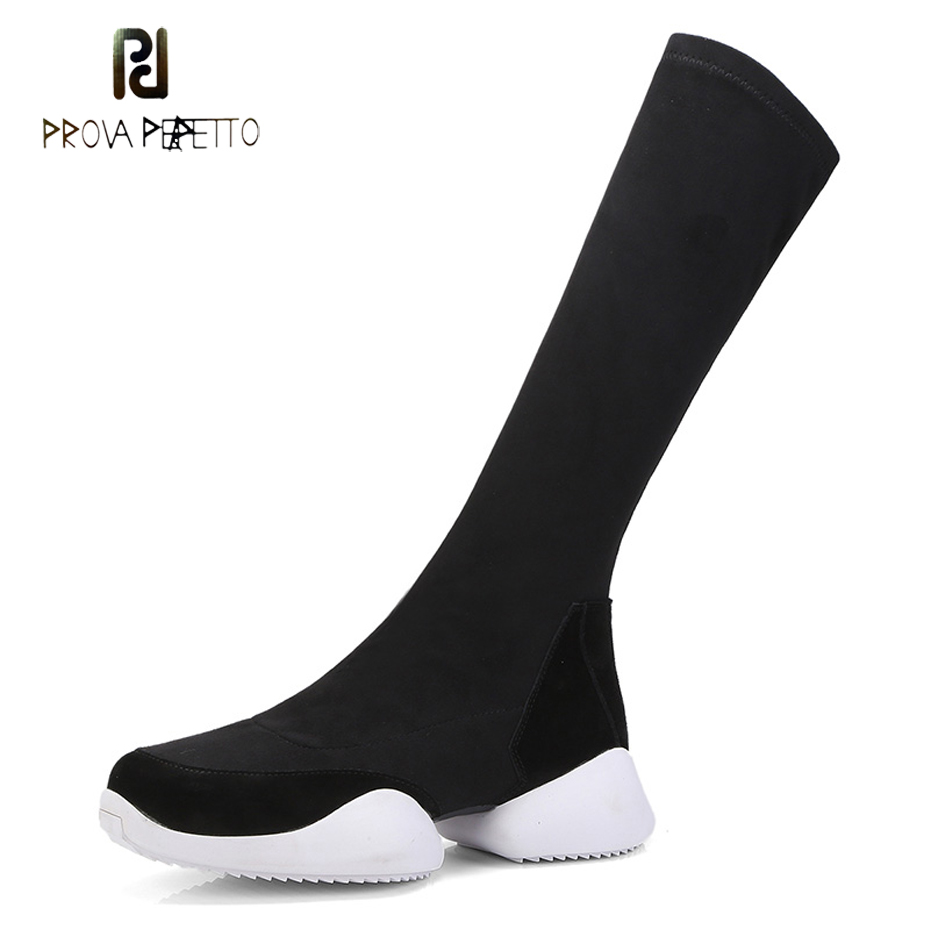 Prova Perfetto autumn winter new women mid calf boots thick bottom stretch sock boots casual sneakers flat platform street botas prova perfetto yellow women mid calf boots fashion rivets studded riding boots lace up flat shoes woman platform botas militares